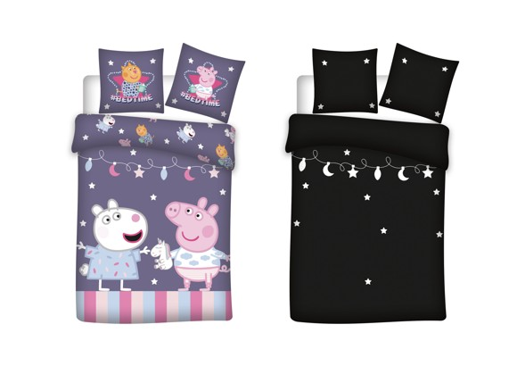 Bed Linen - Junior Size 100 x 140 cm - Glow in the dark - Peppa Pig (1000409)