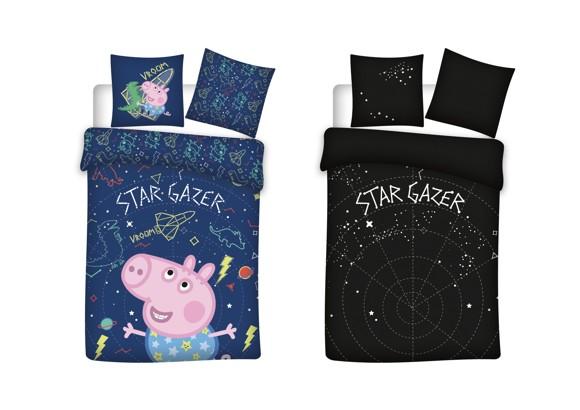 Bed Linen - Junior Size 100 x 140 cm - Glow in the dark - George Pig (1000408)
