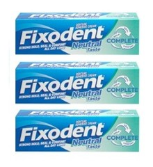 Fixodent - 3 x Denture Adhesive Cream Taste Neutral 47 g