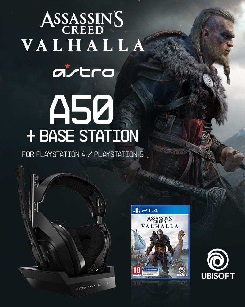ASTRO - A50 Wireless + Base Station for PS4/PC - GEN4 & Assassin's Creed: Valhalla PS4 - Bundle