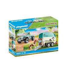 Playmobil - Bil med pony trailer (70511)