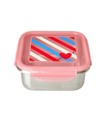 Rice - Stainless Steel Square Lunchbox - Candy Stripes Print