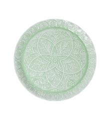 Rice - Rund Metal Bakke  i Grøn m. Detaljer
