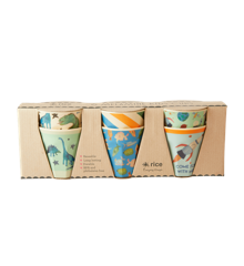 Rice - 6 Pcs Small Melamine Kids Cups - Dino Prints