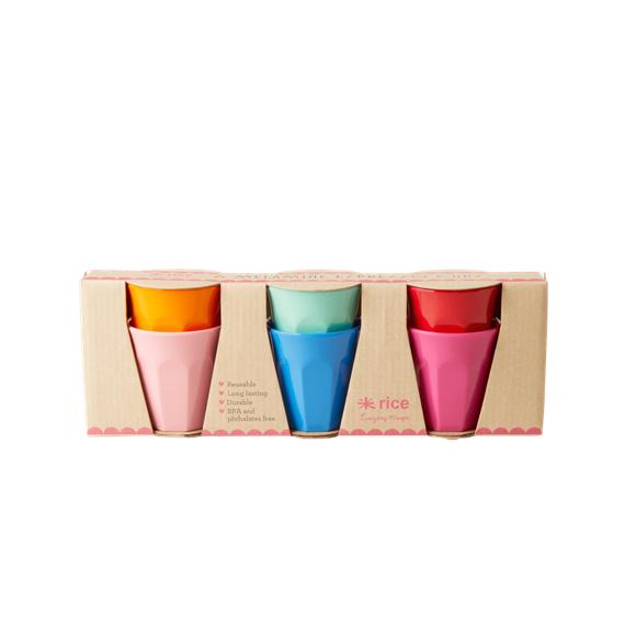 Rice - 6 Melamine Espresso Cups - Choose Happy Colors