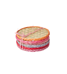 Rice - Round Handmade Raffia Coaster 6 pcs - Red and Pink Colors