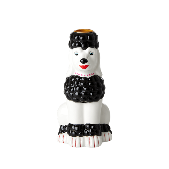 Rice - Ceramic Candle Holder in Poodle Shape - Black