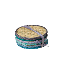 Rice - Round Handmade Raffia Coaster 6 pcs - Blue and Green Colors