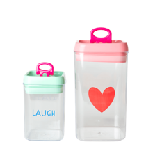 Rice - Plastic Food Boxes Set of 2 Airtight Lid - Pink/Green