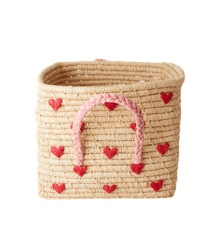 Rice - Small Square Raffia Basket with Handles - Hearts