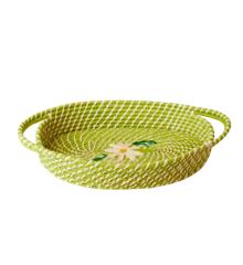 Rice - Oval Raffia Brødkurv - Æble Grøn