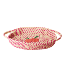 Rice - Raffia Oval Bread Basket - Fuchsia w. Peaches