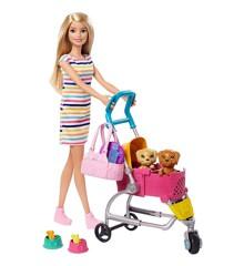 Barbie - Dukke med Hundehvalp og Klapvogn (GHV92)