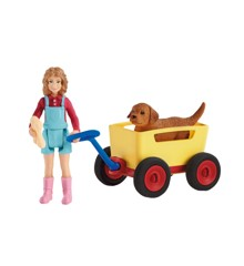 Schleich - Pige med trækvogn og hundehvalp (42543)