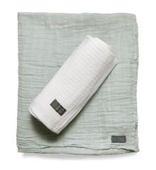 Vinter & Bloom - Soft Grid+Muslin ECO 2-pack - White/Green