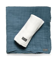 Vinter & Bloom - Soft Grid+Muslin ECO 2-pack - White/Blue
