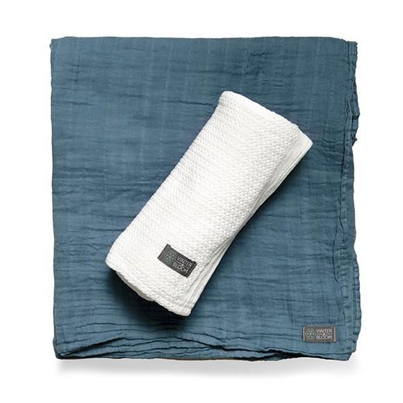 Vinter & Bloom - Soft Grid+Muslin ECO 2-pack - White/Blue