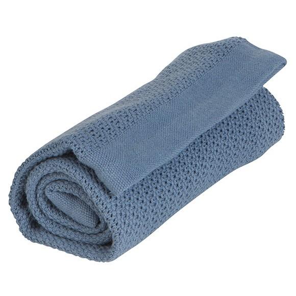 Vinter & Bloom - Filt Soft Grid Blanket ECO - Denim Blue