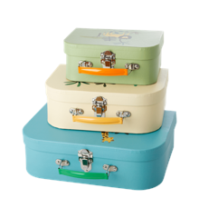 Rice - Cardboard Suitcase Set of 3 - Jungle Animals Print - Blue, Creme & Green