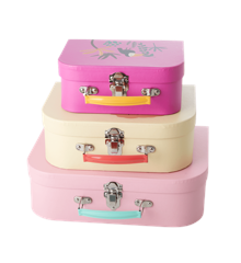 Rice - Cardboard Suitcase Set of 3 - Jungle Animals Print - Soft Pink & Creme