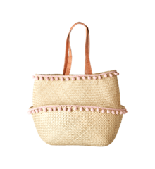 Rice - Raffia Basket w. Pom Pom - Medium
