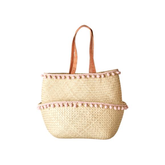 Rice - Raffia Basket w. Pom Pom - Medium