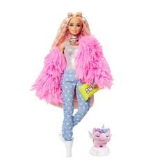 Barbie - Extra Dukke - Fluffy Pink Jacket (GRN28)