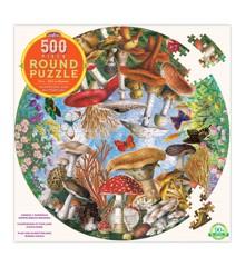 eeBoo - Rundt puslespil 500 brikker - Svampe og sommerfugle