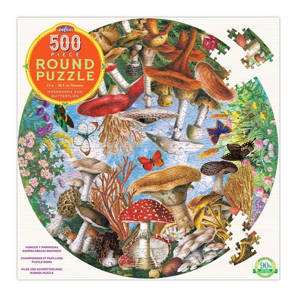 eeBoo - Rundt puslespill 500 stykker - Sopp og sommerfugler
