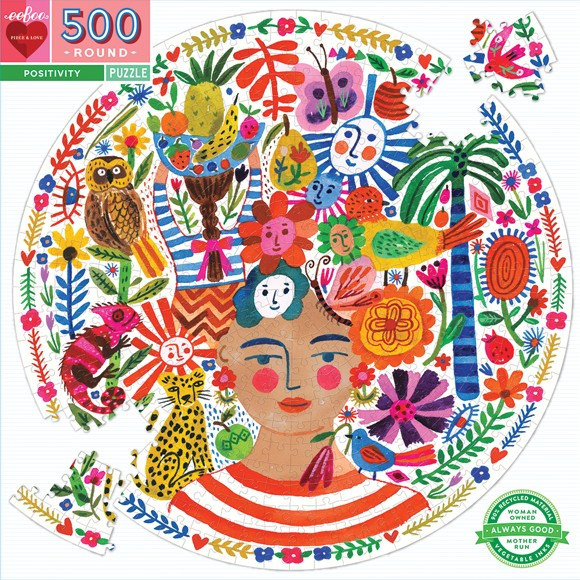 eeBoo - Round Puzzle - Positivity, 500 pcs (EPZFPOS)