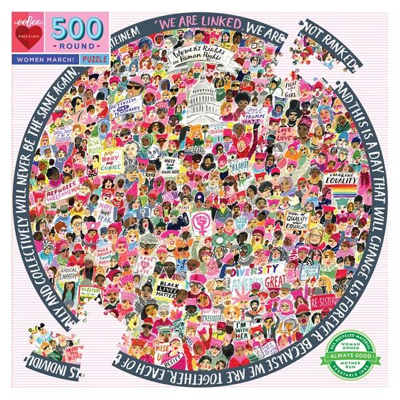 eeBoo - Rundt puslespil 500 brikker - Women March