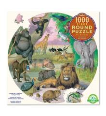 eeBoo - Round Puzzle - Wildlife of Africa, 1000 Pc (EPZCWLA)