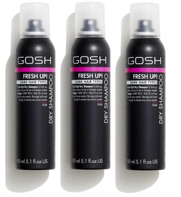 GOSH - 3 x Fresh Up Tørshampoo til Mørkt Hår 150 ml