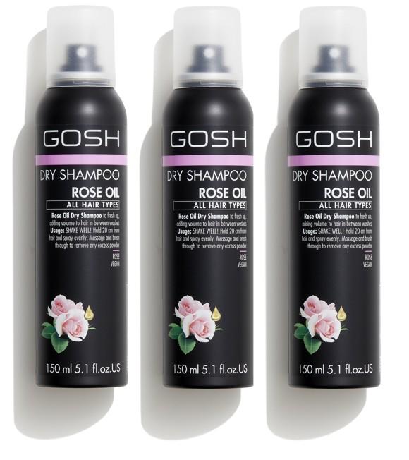 GOSH - 3 x Rose Oil Tørhampoo 150 ml