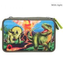 Dino World - Trippel Pencil Case w/LED (0411460)