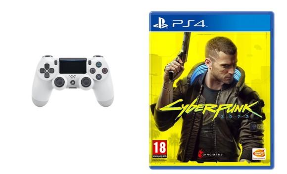 Sony Dualshock 4 Controller v2 - White + Cyberpunk 2077