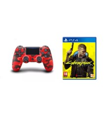 Sony Dualshock 4 Controller v2 - Red Camouflage + Cyberpunk 2077