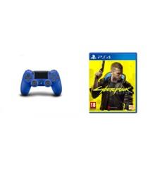Sony Dualshock 4 Controller v2 - Blue + Cyberpunk 2077