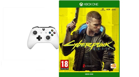 Xbox One Wireless Controller - White + Cyberpunk 2077
