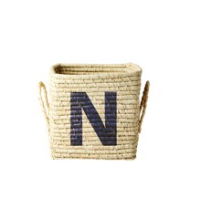 Rice - Raffia Square Basket w. Painted Letter - N