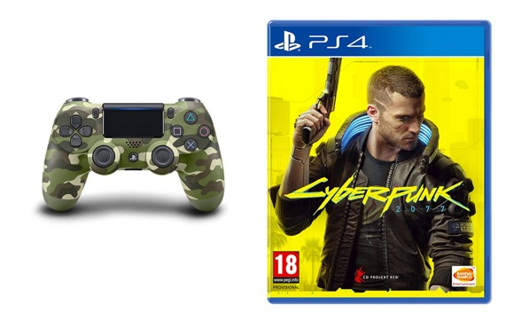 Sony Dualshock 4 Controller v2 - Green Camo + Cyberpunk 2077