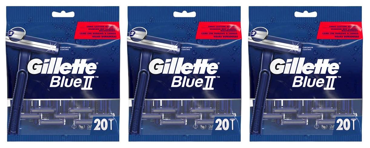 Gillette - 3 x Blue II Disposable Razors 20 Pcs