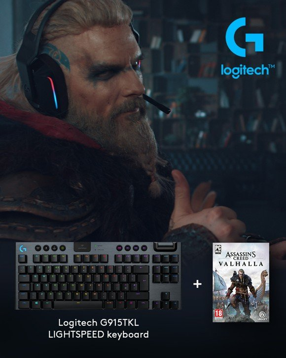 Logitech - G915 TKL Tactile Gaming Keyboard​ + Assassin's Creed: Valhalla PC Bundle