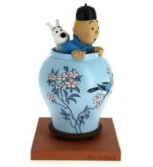 Tintin kigger op af vase (Den Blå Lotus) Statue