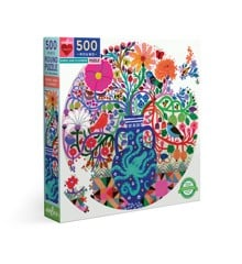 eeBoo - Round puzzle, 500 pcs - Birds and Flowers (EPZFBDF)