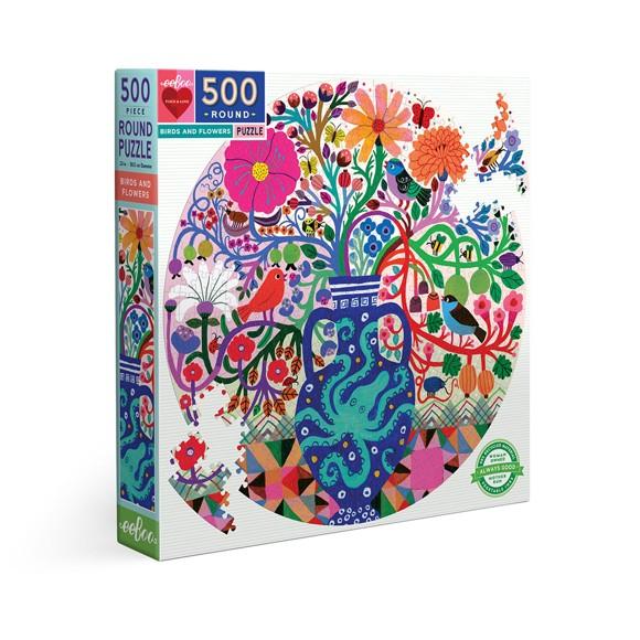 eeBoo - Rundt puslespil 500 brikker - Fugle og blomster