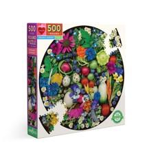 eeBoo - Rundt puslespil 500 brikker - Økologiske grøntsager
