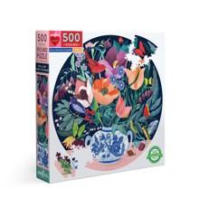 eeBoo - Rundt puslespil 500 brikker - Vase med blomster