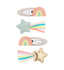 Mimi & Lula - 4 hårspænder med stjerne og regnbue - Rainbow