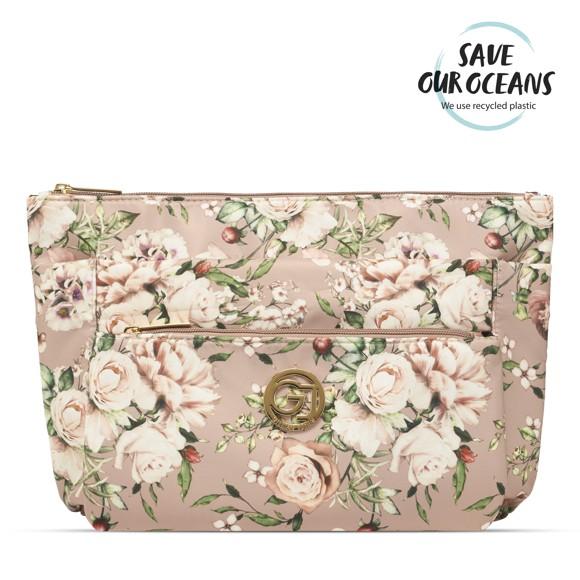 Gillian Jones - 3-Compartment Cosmetic Bag - Pink Floral Print